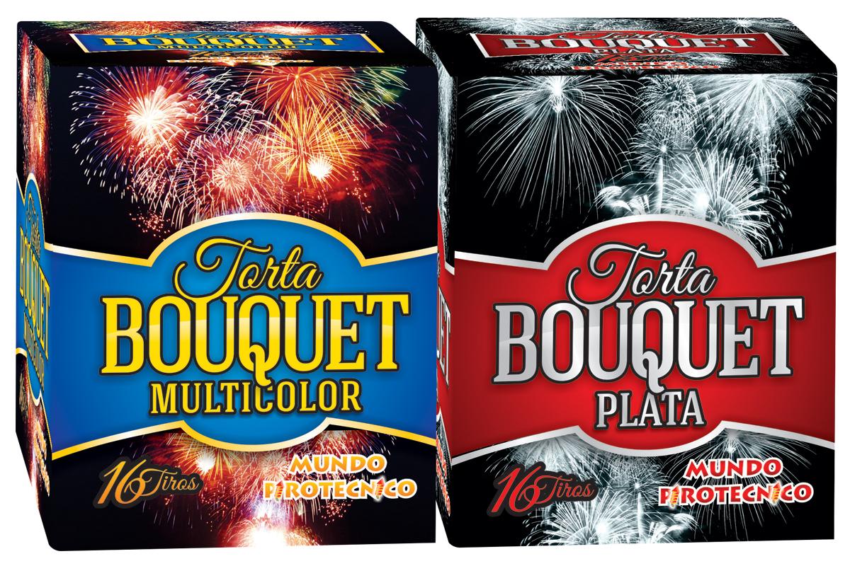 Pack Torta Bouquet Oro y Plata + Bouquet Multicolor 25 Tiros